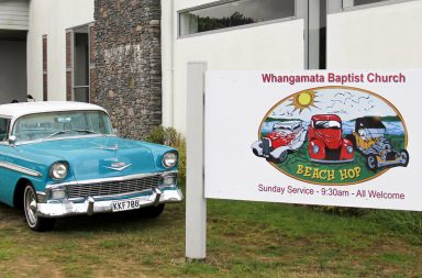 Whangamata Baptist's Beach Hop sign